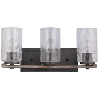 Mariana 470356 Portland 3 Light 20 inch Wood and Aged Iron Bath Vanity Wall Light