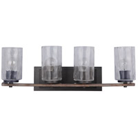 Mariana 470456 Portland 4 Light 27 inch Wood and Aged Iron Bath Vanity Wall Light