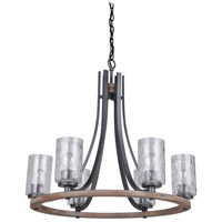 Mariana 470656 Portland 6 Light 28 inch Wood and Aged Iron Chandelier Ceiling Light