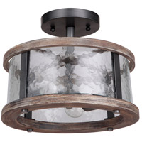 Mariana 471356 Portland 2 Light 13 inch Wood and Aged Iron Dual Mount Pendant Ceiling Light
