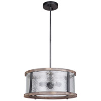 Mariana 471856 Portland 3 Light 18 inch Wood and Aged Iron Dual Mount Pendant Ceiling Light