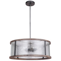 Mariana 472456 Portland 5 Light 24 inch Wood and Aged Iron Dual Mount Pendant Ceiling Light