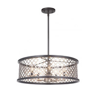 Mariana 562383 Aiden 5 Light 24 inch Bronze/Silver Leaf Pendant Ceiling Light Convertible to Semi Flush