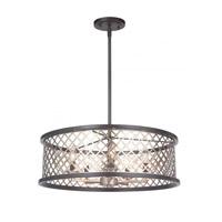 Mariana 562383 Aiden 5 Light 24 inch Bronze/Silver Leaf Pendant Ceiling Light Convertible to Semi Flush