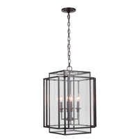 Signature 4 Light 17 inch Urban Bronze Hanging Lantern Ceiling Light