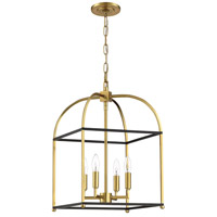 Mariana 621428 Archer 4 Light 14 inch Black and Brass Foyer Lantern Ceiling Light