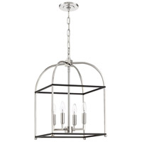 Mariana 621458 Archer 4 Light 14 inch Black and Polished Nickel Foyer Lantern Ceiling Light
