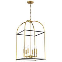 Mariana 621928 Archer 6 Light 19 inch Black and Brass Foyer Lantern Ceiling Light