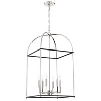 Mariana 621958 Archer 6 Light 19 inch Black and Polished Nickel Foyer Lantern Ceiling Light