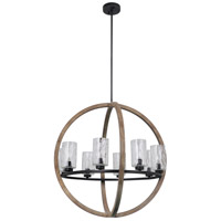 Mariana 680856 Portland 8 Light 28 inch Wood and Aged Iron Pendant Chandelier Ceiling Light