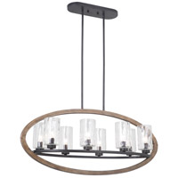 Mariana 688856 Portland 8 Light 36 inch Wood and Aged Iron Island Chandelier Ceiling Light