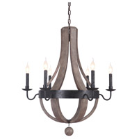 Lancelot 6 Light 32 inch Textured Black/Wood Chandelier Ceiling Light