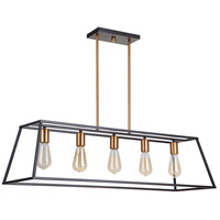 Mariana 744282 Parkville 5 Light 38 inch Black and Gold Pendant Ceiling Light