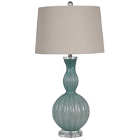 Fiona 33 inch 150 watt Blue/Gold Fleck Art Glass Table Lamp Portable Light