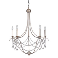 Allure 5 Light 28 inch Antique Silver Leaf Chandelier Ceiling Light