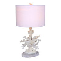 Snow Coral 23 inch 100 watt White Coral Table Lamp Portable Light