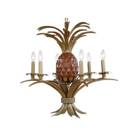 Pineapple 6 Light 29 inch Antique Brass Chandelier Ceiling Light