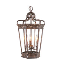 Vintage Crown 3 Light 12 inch Old World Iron Hanging Lantern Ceiling Light
