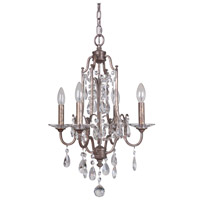 Adorned 4 Light 16 inch Vintage Champagne Chandelier Ceiling Light
