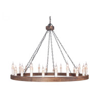 Wagon Wheel 24 Light 55 inch Bronze/Wood Chandelier Ceiling Light