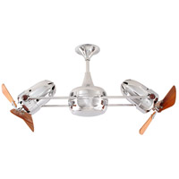 Duplo-Dinamico 36 inch Polished Chrome with Mahogany Blades Ceiling Fan, Matthews-Gerbar