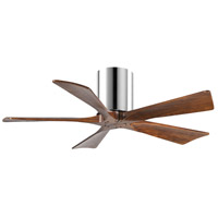 Matthews Fan Co IR5H-CR-WA-42 Irene-5H 42 inch Polished Chrome with Walnut Tone Blades Paddle Ceiling Fan Flush Mount