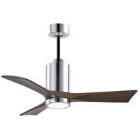 Matthews Fan Co PA3-CR-WA-42 Patricia-3 42 inch Polished Chrome with Walnut Stained Blades Indoor-Outdoor Ceiling Paddle Fan in Walnut Tone