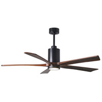 Matthews Fan Co PA5-BK-WA-60 Patricia-5 60 inch Matte Black with Walnut Stained Blades Indoor-Outdoor Ceiling Paddle Fan in Walnut Tone