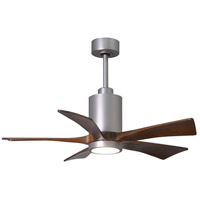Matthews Fan Co PA5-BN-WA-42 Patricia-5 42 inch Brushed Nickel with Walnut Stained Blades Indoor-Outdoor Ceiling Paddle Fan in Walnut Tone