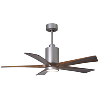 Matthews Fan Co PA5-BN-WA-52 Patricia-5 52 inch Brushed Nickel with Walnut Stained Blades Indoor-Outdoor Ceiling Paddle Fan in Walnut Tone