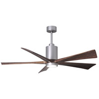 Matthews Fan Co PA5-BN-WA-60 Patricia-5 60 inch Brushed Nickel with Walnut Stained Blades Indoor-Outdoor Ceiling Paddle Fan in Walnut Tone