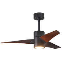 Matthews Fan Co SJ-BK-WN-42 Super Janet 42 inch Matte Black with Walnut Stained Blades Indoor-Outdoor Ceiling Paddle Fan in Walnut Tone