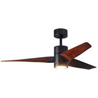 Matthews Fan Co SJ-BK-WN-52 Super Janet 52 inch Matte Black with Walnut Stained Blades Indoor-Outdoor Ceiling Paddle Fan in Walnut Tone