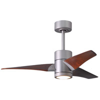 Matthews Fan Co SJ-BN-WN-42 Super Janet 42 inch Brushed Nickel with Walnut Stained Blades Indoor-Outdoor Ceiling Paddle Fan in Walnut Tone