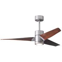 Matthews Fan Co SJ-BN-WN-52 Super Janet 52 inch Brushed Nickel with Walnut Stained Blades Indoor-Outdoor Ceiling Paddle Fan in Walnut Tone
