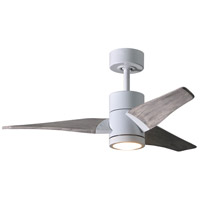 Matthews Fan Co SJ-WH-BW-42 Super Janet 42 inch Gloss White with Barn Wood Tone Blades Indoor-Outdoor Ceiling Paddle Fan
