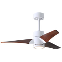 Matthews Fan Co SJ-WH-WN-42 Super Janet 42 inch Gloss White with Walnut Stained Blades Indoor-Outdoor Ceiling Paddle Fan in Walnut Tone
