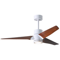 Matthews Fan Co SJ-WH-WN-52 Super Janet 52 inch Gloss White with Walnut Stained Blades Indoor-Outdoor Ceiling Paddle Fan in Walnut Tone