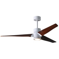 Matthews Fan Co SJ-WH-WN-60 Super Janet 60 inch Gloss White with Walnut Stained Blades Indoor-Outdoor Ceiling Paddle Fan in Walnut Tone