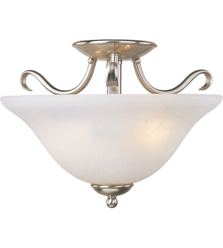 Maxim 10120ICSN Basix 2 Light 14 inch Satin Nickel Semi Flush Mount Ceiling Light in Ice photo