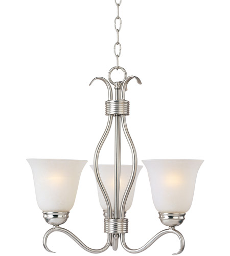 Maxim 10123ICSN Basix 3 Light 19 inch Satin Nickel Mini Chandelier Ceiling Light in Ice photo
