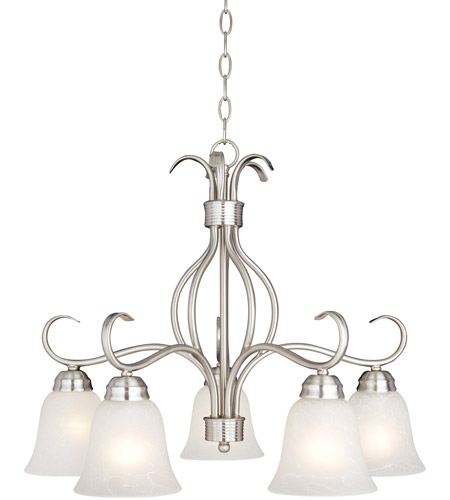 Maxim 10124icsn Basix 5 Light 25 Inch Satin Nickel Down Chandelier Ceiling In Ice