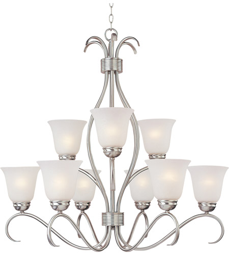 Maxim 10128ICSN Basix 9 Light 32 inch Satin Nickel Multi-Tier Chandelier Ceiling Light in Ice photo
