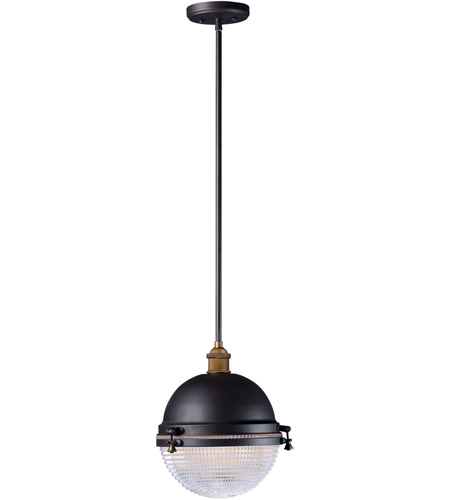Maxim 10187OIAB Portside 1 Light 12 inch Oil Rubbed Bronze and Antique Brass Outdoor Pendant photo