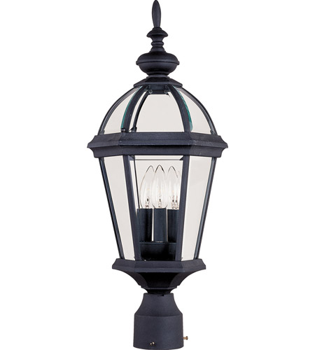 Maxim Lighting Builder Cast 3 Light Outdoor Pole/Post Lantern in Black 1023BK photo