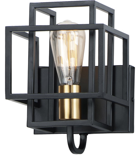 Liner 1 Light Black And Satin Br Wall Sconce