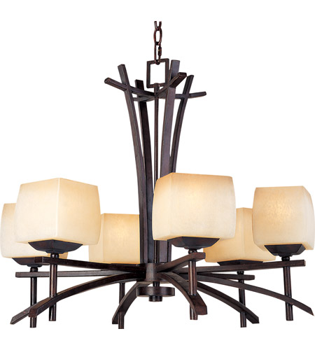 Maxim 10985WSRC Asiana 6 Light 27 inch Roasted Chestnut Single Tier Chandelier Ceiling Light photo