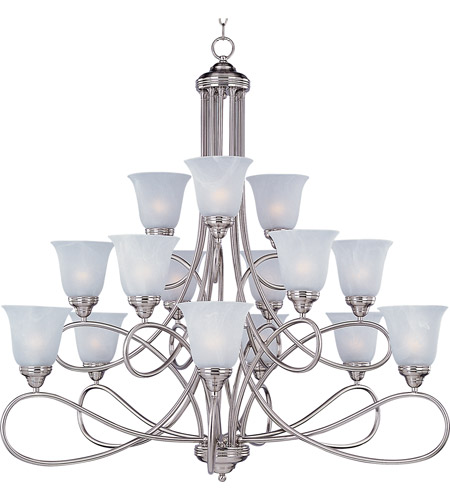 Maxim 11045MRSN Nova 15 Light 42 inch Satin Nickel Multi-Tier Chandelier Ceiling Light in Marble photo