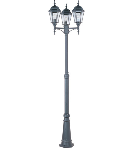 Maxim Lighting Signature 3 Light Outdoor Pole/Post Lantern in Black 1105BK photo