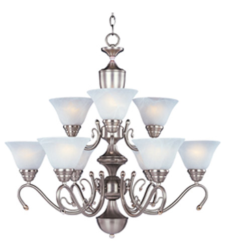 Maxim Newport 9 Light Multi-Tier Chandelier in Satin Nickel with Marble Glass 11065MRSN photo